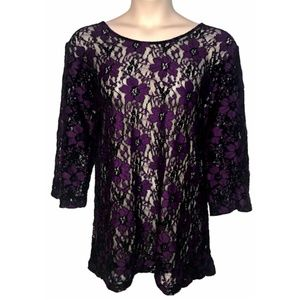 Catherines Sheer Stretch Black & Purple Lace Tunic